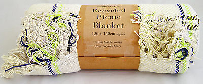 Country Club Recycled Cotton Picnic Blanket 120x150cm Lime Green Blue Travel Rug