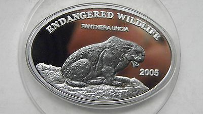 2005 Mongolia 500 Togrog Snow Leopard Silver Proof coin w/ Nobium