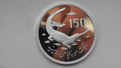 1976 Pakistan 150 Rupees Gavial Crocodile Silver Proof coin