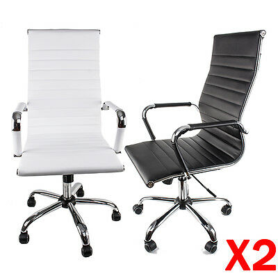 Modern PU Leather Office Chair Ergonomic High Back Executive Computer Desk UK