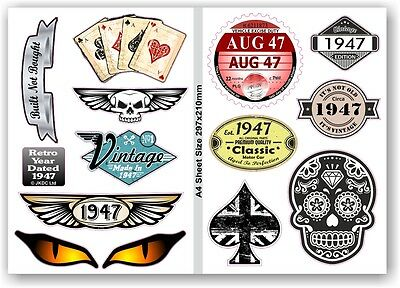 A4 Sheet Of Retro Year Dated 1947 Set of 12 Vinyl Car Bike Helmet sticker Decals