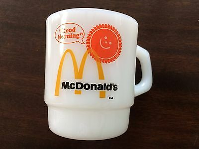 "Anchor Hocking Fire King McDonalds ""Good Morning"" Coffee Mug Cup Milk Glass"