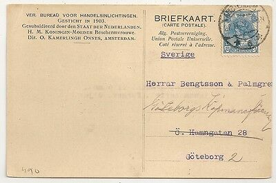 Card Pays Bas Netherlands Amsterdam To Goteborg Sweden. 1922. L490