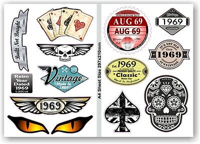 A4 Sheet Of Retro Year Dated 1969 Set of 12 Vinyl Car Bike Helmet sticker Decals