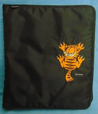 Vintage Mead Garfield the Cat Black Fabric 3 Ring Zip Up Binder VGUC FREE SHIP!