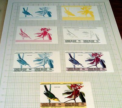 "UNION ISLAND, ST VINCENT 15c COLOUR PROGRESSION ""BIRDS"" STAMP PROOFS, UNUSUAL!!."