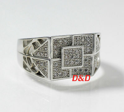 New White Gold Finish Real 925 Silver Square Lab Diamond ring size10