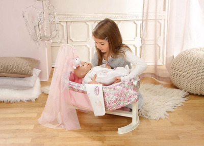 Rocking Cradle Baby Annabell Cot Doll Pretend Play Girls Bed Toy NEW