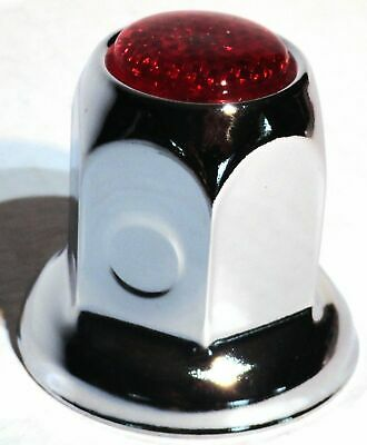 lug nut covers(20) 33MM red reflector chrome metal for Kenworth Freightliner PB
