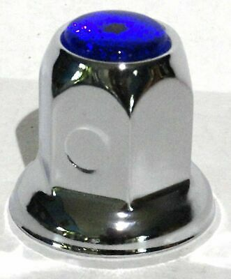 lug nut covers(20) 33MM blue reflector chrome metal for Peterbilt Freightliner