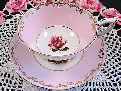 Royal Stafford Candy Pink Fancy Gold Rose Tea Cup And Saucer