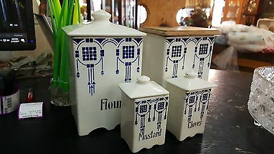 9 Pc Antique Blue & White Canister Set Made In Germany