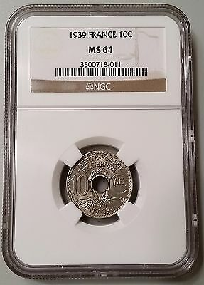 1939 France 10 Centimes NGC MS64 Mint State UNC Coin