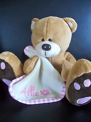 Personalised Baby Gift Teddy Bear with comforter blanket Any Name Height 16cm