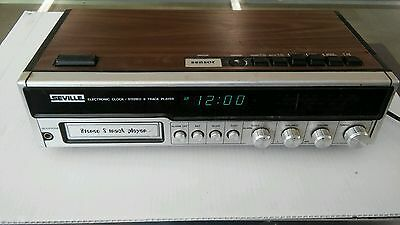Vintage Seville Am Fm Stereo Electronic Clock Radio 8 Track Player Model 8801