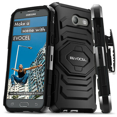 Galaxy J3 Emerge Case, Evocel Dual Layer Rugged Holster with Kickstand & Clip