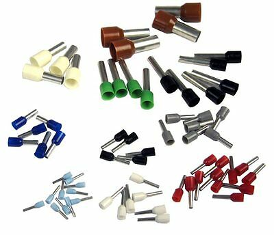 1000 x Bootlace Crimps Ferrules Cord End Terminals French German 0.25mm- 35mm