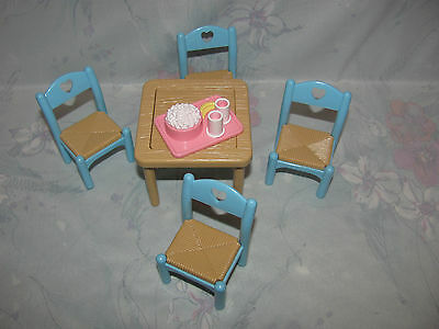 Fisher Price Loving Family Dollhouse Kitchen Table, 4 Chairs, Popcorn Tray