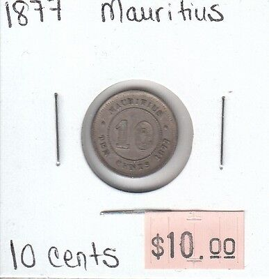 Mauritius 10 Cents 1877 Circulated
