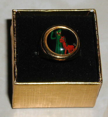 "*RARE* VINTAGE 1960's  ""GUMBY & POKEY""  ADJUSTABLE METAL RING WITH GIFT BOX"