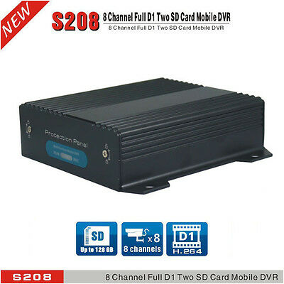 8 Channel Dual SD Cards Car DVR & H.264 D1 Real-time Vehicel Video Recorder DVR