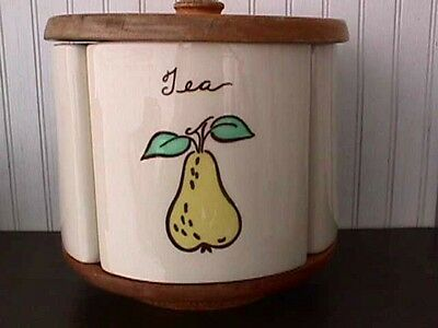 Vintage Esmond Purinton Pottery Lazy Susan Fruits Canisters-F