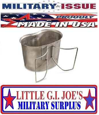 Military Issue Stainless Steel CANTEEN CUP 1qt Canteen W/Butterfly Handles USED!