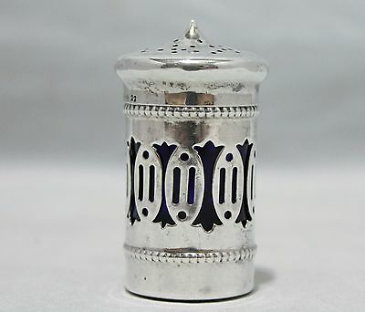 Antique Sterling Silver Shaker with Glass Cobalt Insert  - Circa 1860s