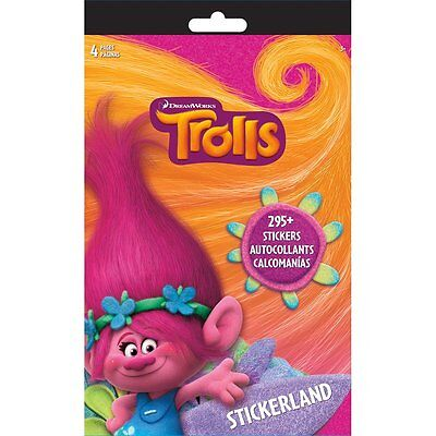 Trolls Stickerland Pad 4/Pages Over 295 Stickers NEW