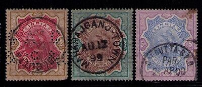 India Sc# 50-52 Used Nice Cancels ,perfin Used