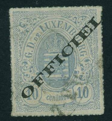 Luxembourg  1875 10 C Lilac Arms Ovptd Diagonal ' Official' F - Vf Sc # 03