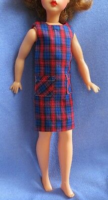1960s Tammy Plaid Dress Shift Red Blue Carded Item #9233-8 Tagged. Excellent!