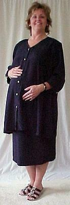 Plus size maternity 2 pc navy suit jacket skirt 26 NWOT
