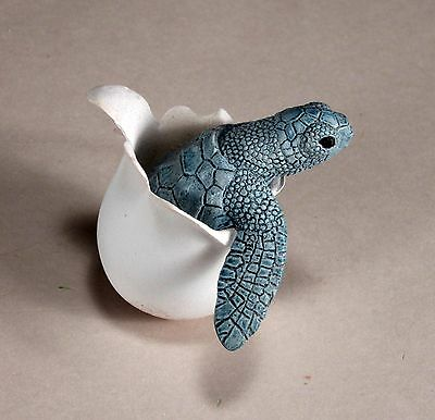 """""""TIPSY TURTLE"""" Rocking Statue Hatchling New Direct from JOHN PERRY Blue/grey"""