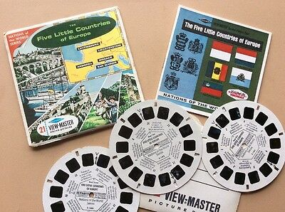 """View-Master """"The FIVE LITTLE COUNTRIES OF EUROPE."""" 3 Reel Set"""
