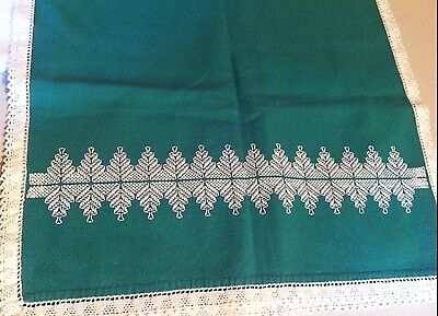 Handmade Large Vintage Green Cotton Blend Table scarf runner white embroidery
