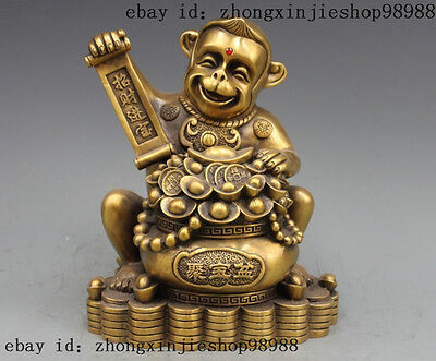 12 China Bronze Copper Fengshui Treasure Bowl Monkey Lucky Wealth Statue