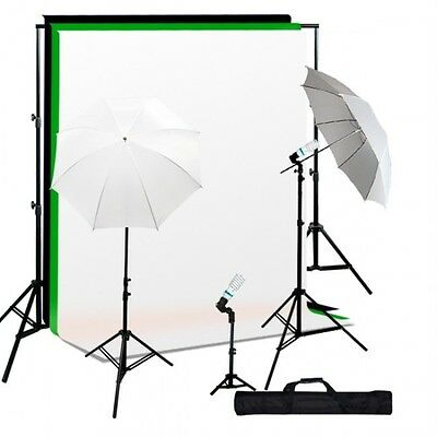 600 Watt continuous lighting kit with 7x10 backdrop stand and 6x9 B/W/G backdrop