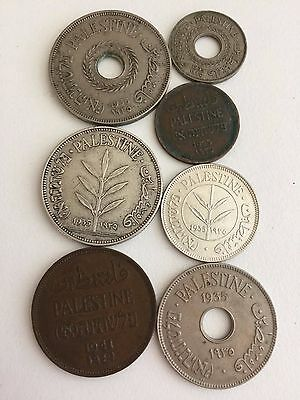 (CLOSED TILL 5 JULY)1935 P'Israel 7coins 1 2 5 10 20 50 100 mils 2 mils is 1941