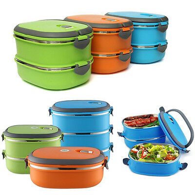 NEW Thermal Insulated Bento Stainless Steel Food Container Lunch Box 1/2/3 Layer