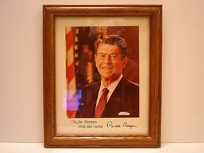 Ronald Reagan Autographed Hand Signed Signature 8 x 10 Framed Photo