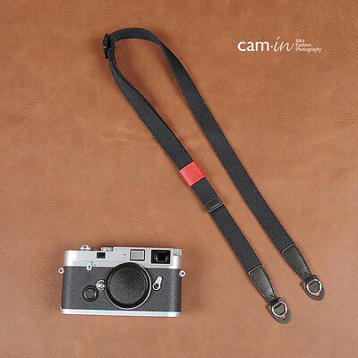 CAM1441 Cotton shoulder Neck Strap Leica Nikon Fuji camera Adjustable Black