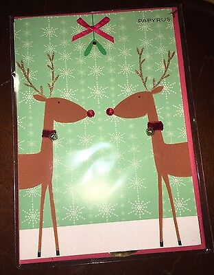 Christmas Holidays Papyrus Greeting Cards Reindeers Ribbon Bells Beads Worth$8