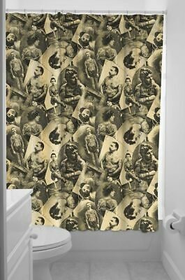 SOURPUSS Tattooed Old Timers Flash Photos Retro Vintage Inspired Shower Curtain
