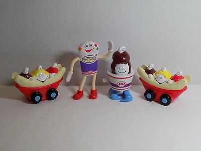 1998 Lot 4 DQ Dairy Queen Kids Meal Pick Nic Treat Character Toy Figures