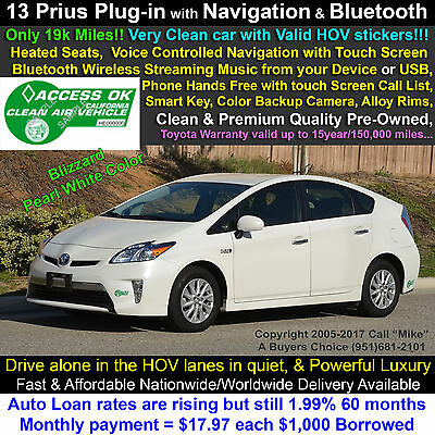 2013 Toyota Prius Plug-in Hybrid Premium Gasoline/Electric Dual-Fuel Navigation+Live Traffic, HeatedSeats, Rear Camera, Entune, Bluetooth, Warranty!!