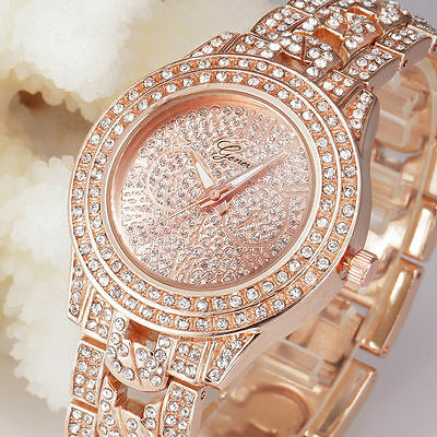 New Fashion Women's Geneva Crystal Rhinestone Stainless Steel Band Wrist Watch