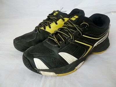 Babolat Junior Boys Girls Tennis Shoes Trainers In Black And Yellow Size Uk 1