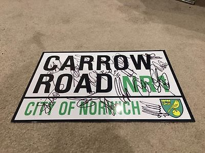 Norwich City Signed 2016/2017 Squad Stadium Road Sign Football Not Shirt Proof