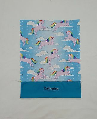 Free Name Unicorn Design Blue Personalised Embroidery Library Bag (Ff)